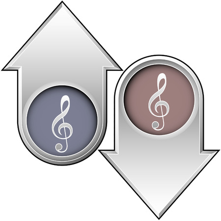 Treble clef icon on up and down arrow buttons Vector