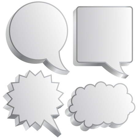 chat: Cartoon or comic thought and conversation bubble in vector illustration