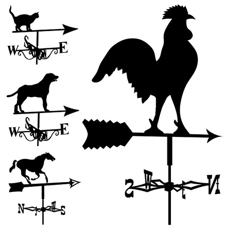 farmhouse: Weathervanes and lightning rods in vector silhouette
