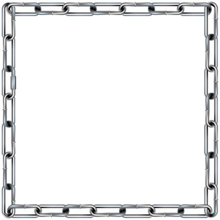 사각 모서리와 원활한 금속 체인 링크 테두리, 배경 또는 패턴 - 벡터 일러스트