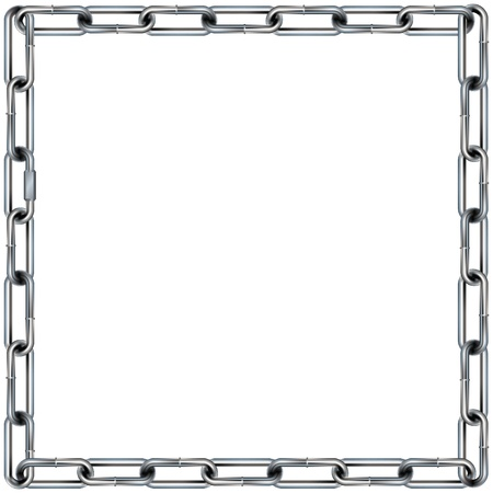Seamless metal chain link border, background, or pattern with square corners - vector Vector