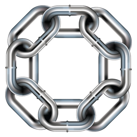 둥근 모서리와 원활한 금속 체인 링크 테두리, 배경 또는 패턴 - 벡터 일러스트