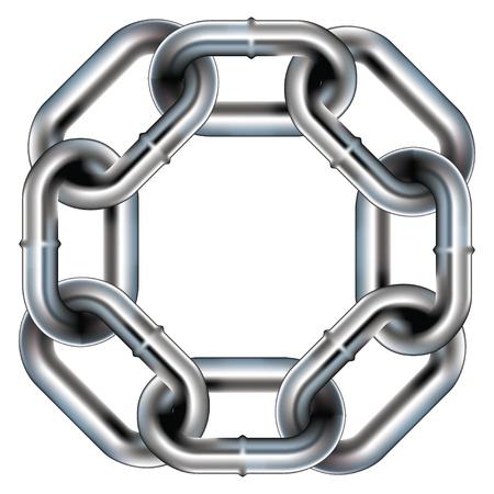 összekapcsol: Zökkenőmentes fém láncszem határ, háttér, vagy, motívum, lekerekített sarkokkal - vektor