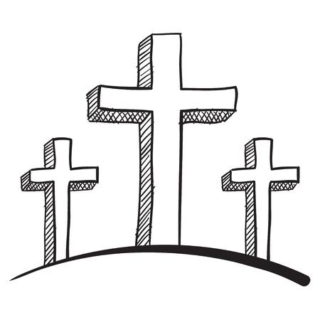 pasqua cristiana: Doodle stile calgary crocifisso illustrazione vettoriale