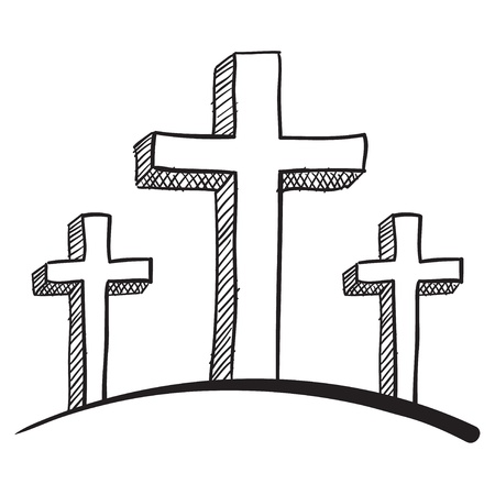 christmas cross: Doodle style calgary crucifix vector illustration