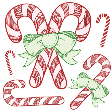 Doodle style candy cane vector illustration Vector