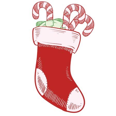 사탕 지팡이 벡터 일러스트와 함께 낙서 스타일의 크리스마스 스타킹