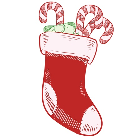 Doodle style christmas stocking with candy canes vector illustration
