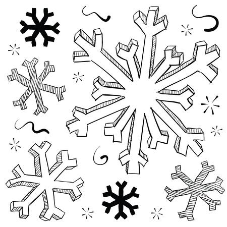 落書きスタイル冬スノーフレーク ベクトル イラスト