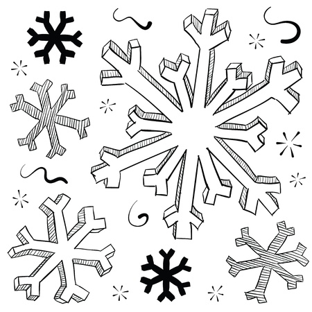 solstice: Doodle style winter snowflake vector illustration