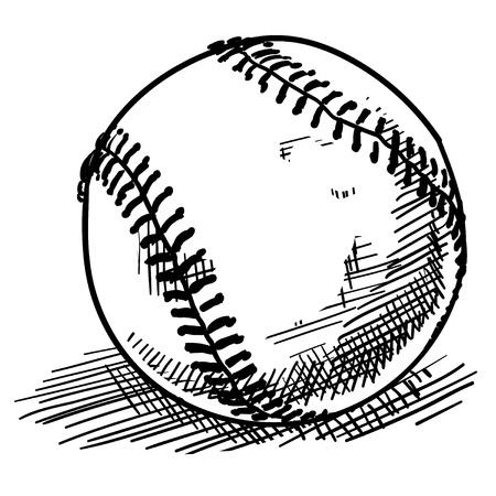 beisbol: Doodle de béisbol deportes de estilo de ilustración vectorial