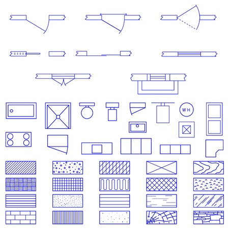 drafting: Complete set of blueprint icons and symbols used by architects and designers in the production of plans and documents.
