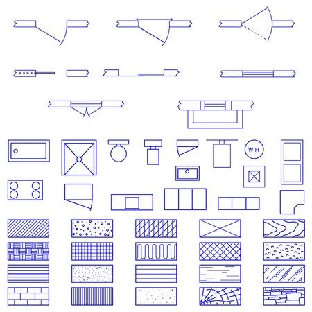 vellum: Set completo di icone e simboli utilizzati blueprint da architetti e designer nella produzione di piani e documenti. Vettoriali
