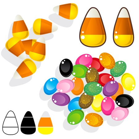 silueta: Candy corn and jelly beans. Vector set includes various angles, silhouettes, and close-ups.