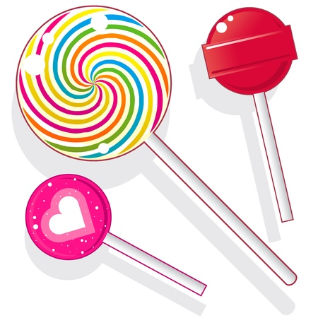 lolly pop: Lollipops and suckers. Vector candy set includes spherical lolly pops as well as round swirl pop.