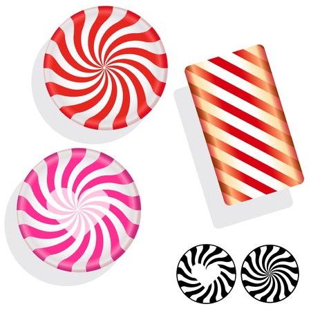 Round swirl candy. Vector set includes circle, bar, and silhouette mints, as well as Valentines Day heart peppermints.