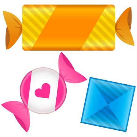 toffee: Zachte snoep in wrapper. Vector set bestaat uit een bar en een cirkel vormen, maar ook vierkant ruitvorm. Kan zijn karamel, chocolade, of toffee. Stock Illustratie