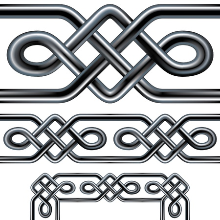Seamless Celtic rope design element. Complex interlocking stainless steel tubes in a repeatable tribal pattern than can be used as a frame, background, or border design. Includes corner pieces. Vector