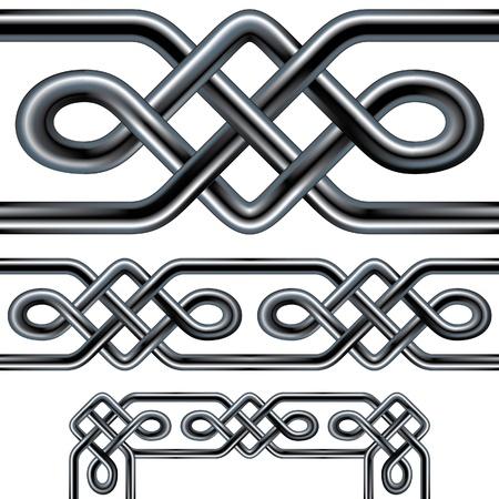 Seamless celtica corda elemento di design. Complessi tubi interconnessi acciaio inossidabile in un modello ripetibile tribale che può essere utilizzata come una cornice, fondo, o disegno bordo. Include angolari. Archivio Fotografico - 11575165