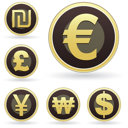 japanese currency: International currency symbol icon set on brown and gold round vector buttons. Suitable for web, print, or promotional use.