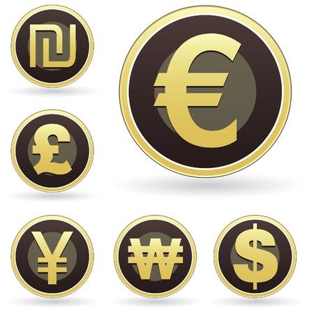 sterlina: Internazionale icona simbolo di valuta impostato sul marrone e oro bottoni rotondi vettore. Adatto per il web, stampa, o l'uso promozionale.