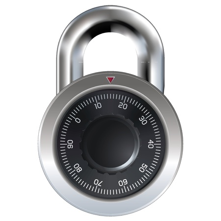 travar: Combination lock typically found on a school locker, garage, and shed doors. Dial operation is fully detailed. Security symbol.