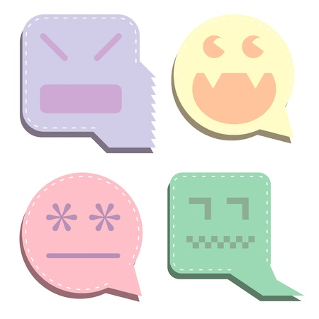 Pastel vector digital ghost icons. Designed to look like speech or thought bubbles, as expressions of thoughts or emotions.