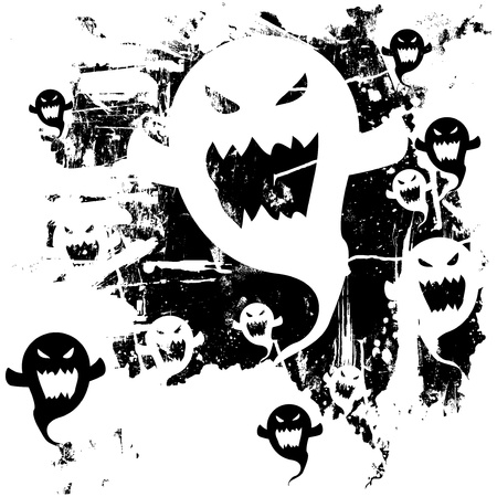 Scary ghost background. Distressed, grunge look. Ghost can also be used as a separate icon.