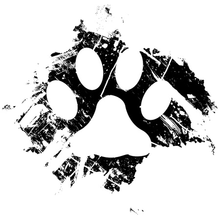 dog track: Grunge pet or cat paw print. Can be used as a background or as a minor design element.