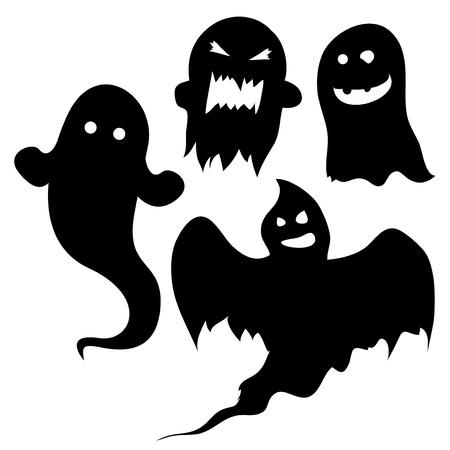 Juego de siluetas de fantasmas para los diseños de Halloween o de miedo. Ilustración de vector