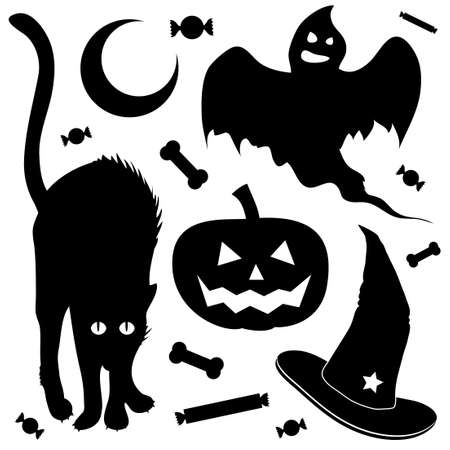 haunt: Halloween design elements silhouette set. Includes black cat, jack o lantern pumpkin, ghost, and witch Illustration