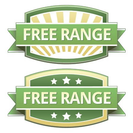 Free range on yellow and green food label, sticker, button or icon for use on packaging, print, advertising, and websites. Vector
