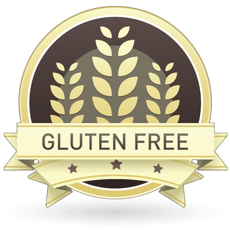 Gluten free on brown and yellow food label, sticker, button, or icon with wheat or grain background for use in print, packaging, advertising, and on websites. Illustration
