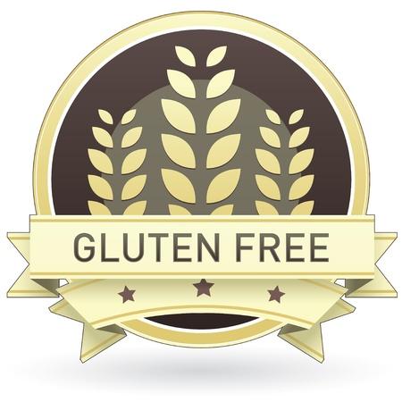 Glutenvrij op bruin en geel voedsel etiket, sticker, knop of pictogram met tarwe of graan achtergrond voor gebruik in drukwerk, verpakkingen, advertenties en op websites. Stock Illustratie