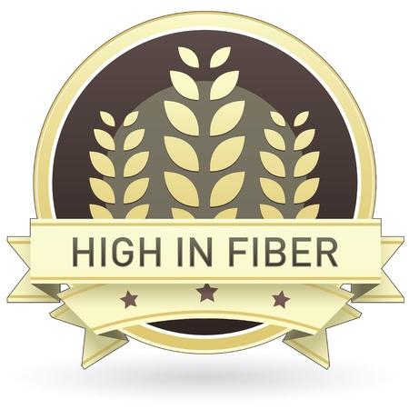 preservatives: Alto contenido de fibra en la etiqueta de los alimentos de color marr�n y amarillo, bot�n, o el icono con el trigo o el fondo de grano para su uso en impresi�n, Web site de envasado, la publicidad, y otra vez.