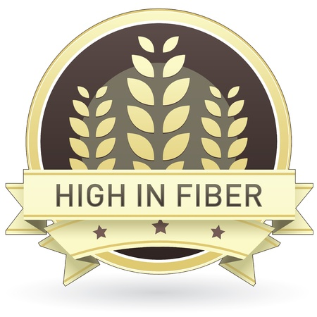 fiber food: High in fiber on brown and yellow food label, sticker, button, or icon with wheat or grain background for use in print, packaging, advertising, and on websites.