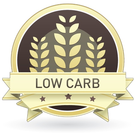Low carb on brown and yellow food label, sticker, button, or icon with wheat or grain background for use in print, packaging, advertising, and on websites.
