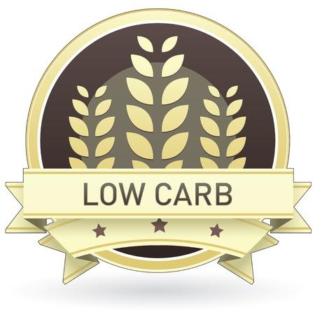 preservatives: Baja en carbohidratos en la etiqueta de los alimentos de color marr�n y amarillo, bot�n, o el icono con el trigo o el fondo de grano para su uso en impresi�n, Web site de envasado, la publicidad, y otra vez.