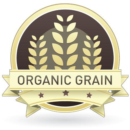 produits céréaliers: Céréales bio sur l'étiquette des aliments brun et jaune, autocollant, bouton, ou sur l'icône avec le blé ou le fond de grain pour une utilisation dans les sites Web d'impression d'emballage, la publicité, et sur, les.