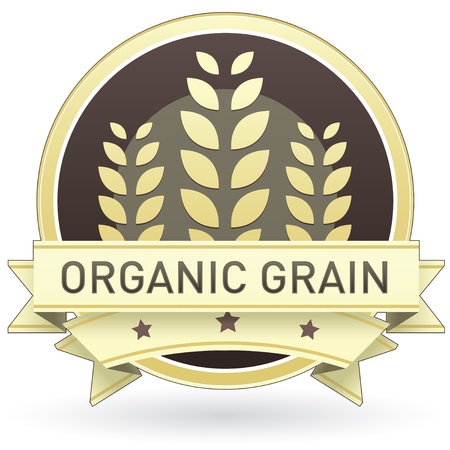Organic grain on brown and yellow food label, sticker, button, or icon with wheat or grain background for use in print, packaging, advertising, and on websites. Vector