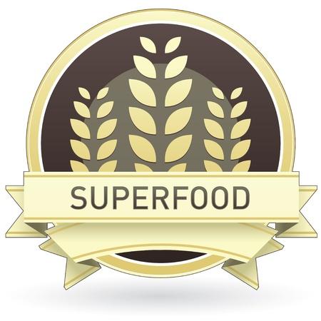 preservatives: Superfood en la etiqueta de los alimentos de color marr�n y amarillo, bot�n, o el icono con el trigo o el fondo de grano para su uso en sitios web de impresi�n, embalaje, publicidad, y otra vez. Vectores