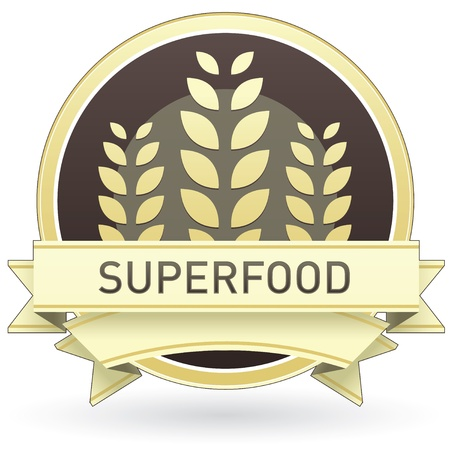 Superfood on brown and yellow food label, sticker, button, or icon with wheat or grain background for use in print, packaging, advertising, and on websites. Vector