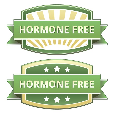 Hormone free on yellow and green food label, sticker, button or icon for use on packaging, print, advertising, and websites. Vector