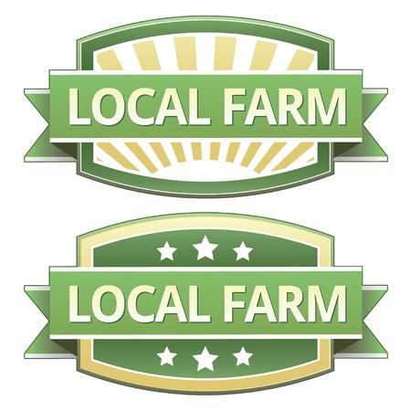 黄色と緑の食品のラベル、ステッカー、ボタンまたはアイコン包装、印刷、広告、および web サイトで使用するために地元の農場。