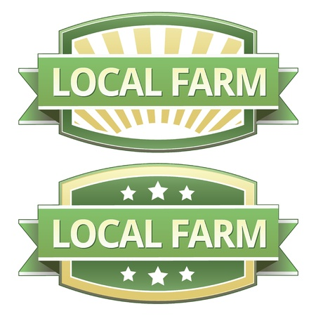Local farm on yellow and green food label, sticker, button or icon for use on packaging, print, advertising, and websites.