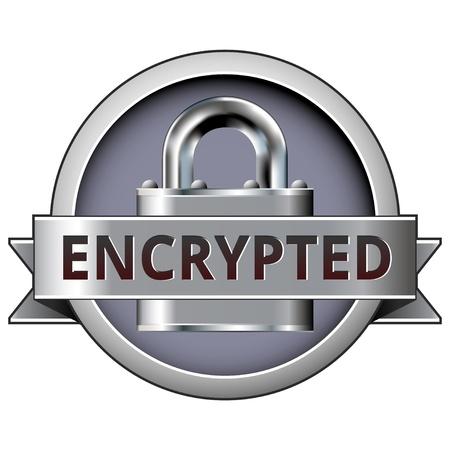 Cifrada en el icono de bloqueo de seguridad para su uso en sitios web, en formato impreso, y en el comercio electrónico. Ilustración de vector