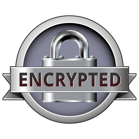 Encrypted on lock security icon for use on websites, in print, and in e-commerce.