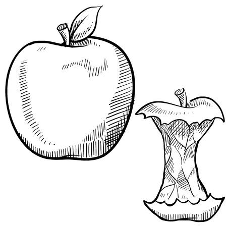 Doodle stijl appel en klokhuis vector illustratie Stockfoto