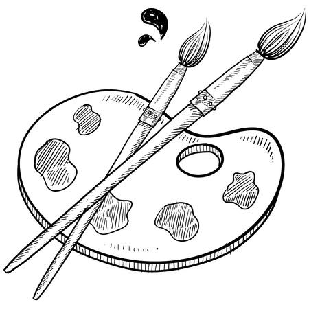 pallette: Doodle illustration vectorielle de style artiste avec des pinceaux, palette et de peinture