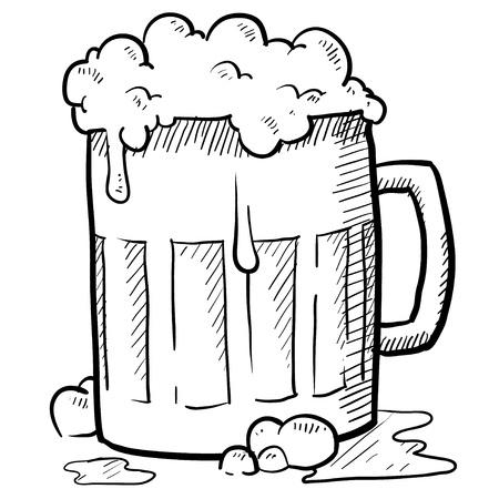 stein: Doodle style frothy beer mug vector illustration